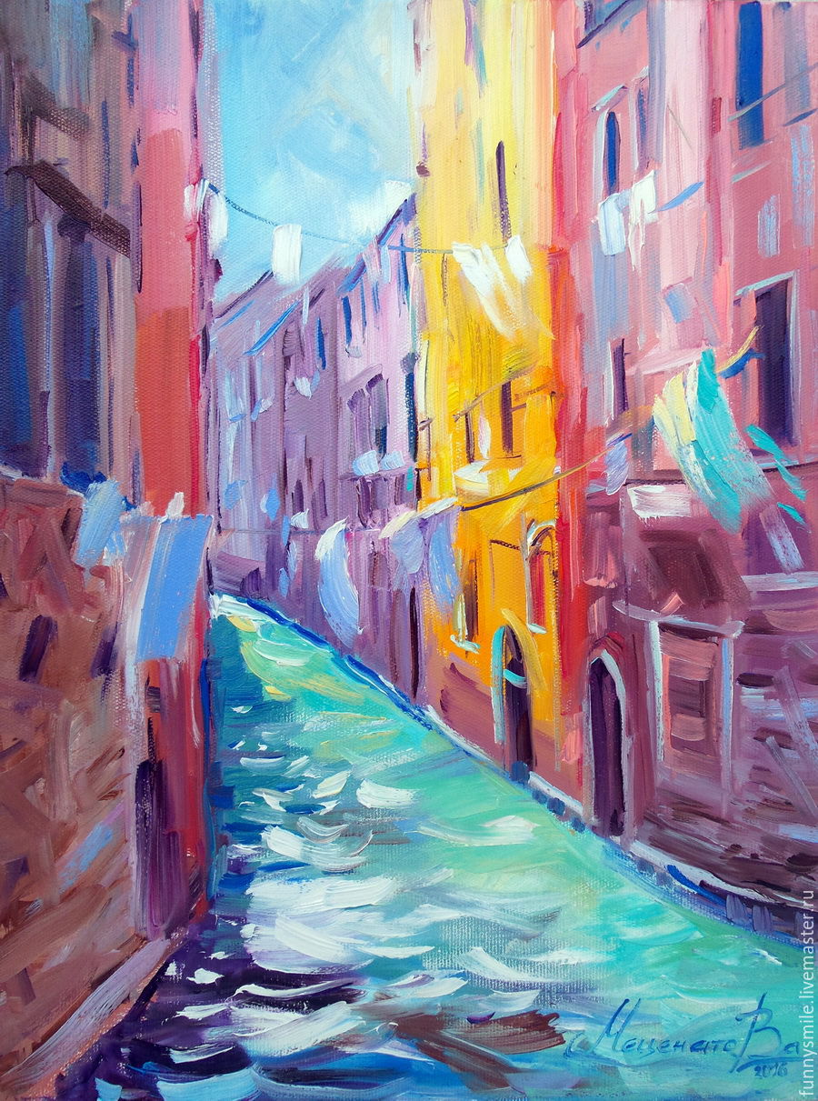 Oil painting on canvas. Solar street Venice, Pictures, Moscow,  Фото №1