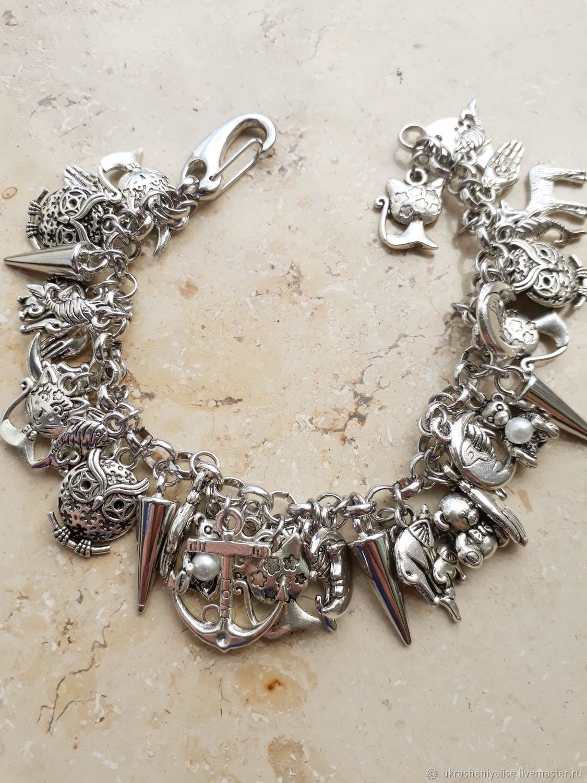 Charm bracelet on a silver chain, Bead bracelet, Moscow,  Фото №1