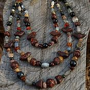 handmade. Livemaster - original item Multi-row necklace with agate and birds. Handmade.