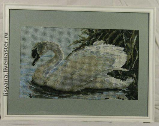"""Животные ручной работы. Ярмарка Мастеров - ручная работа. Купить Картина вышитая """"Лебёдушка"""". Handmade. Лебедь, Вышитая картина"""
