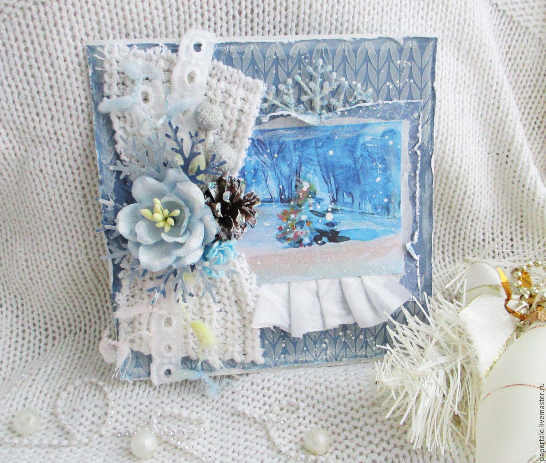 Скрапбукинг новогодние открытки голубой