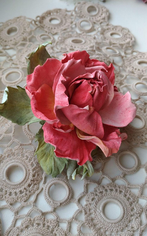 Роза из кожи Маргарет Брошь из кожи. Цветы из кожи, Броши, Самара, Фото №1