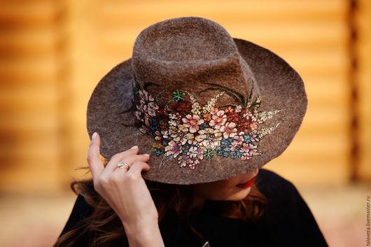 """Шляпы ручной работы. Ярмарка Мастеров - ручная работа. Купить Шляпа """"Весенний вальс"""". Handmade. Коричневый, ольга шуляк, зеленый"""