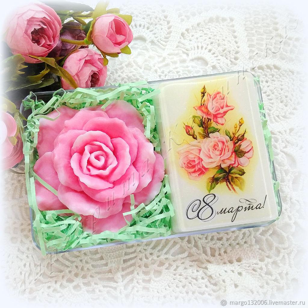 Мыло-открытка с розой набор мыла в подарок на 8 марта, Мыло, Москва,  Фото №1