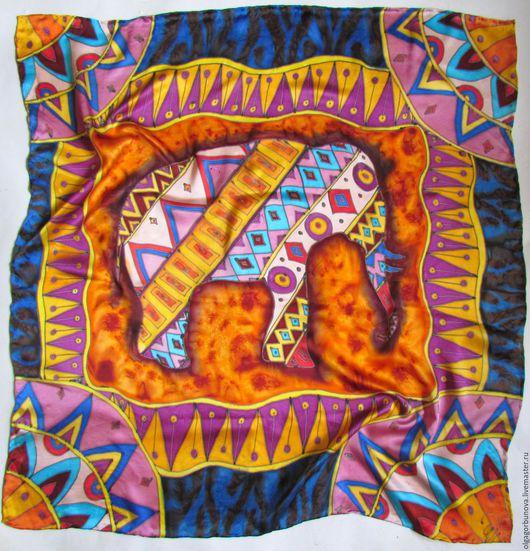 """Шали, палантины ручной работы. Ярмарка Мастеров - ручная работа. Купить Батик платок """"Слон"""", коллекция """"Африка"""". Handmade. Платок"""