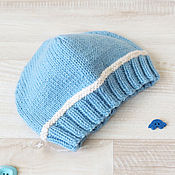 Работы для детей, handmade. Livemaster - original item hat knitted baby hat for baby blue 0-3 months. Handmade.
