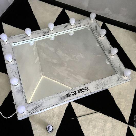 Зеркала ручной работы. Ярмарка Мастеров - ручная работа. Купить Гримерное зеркало ELDER 100/80. Handmade. Чёрно-белый, сосна