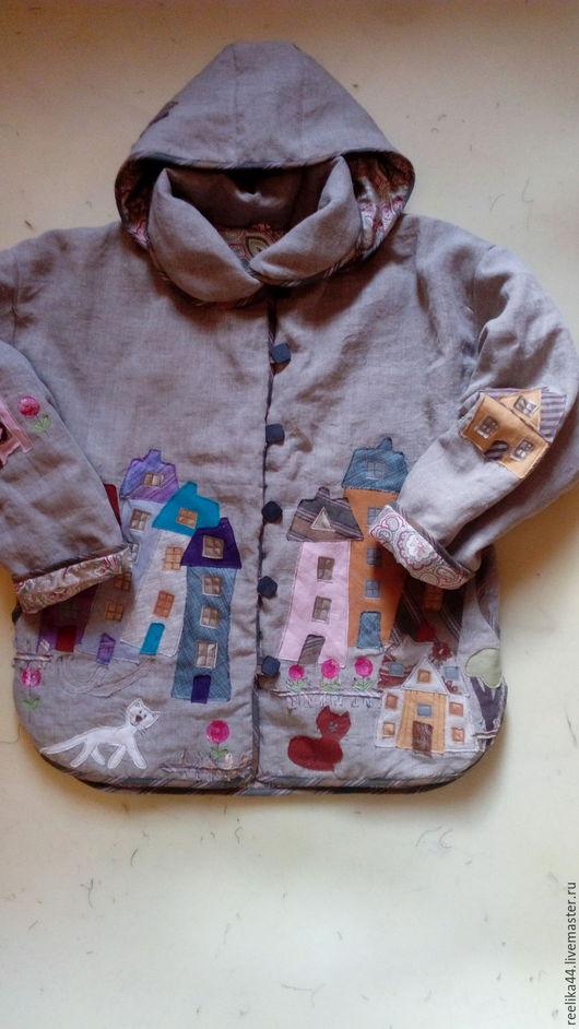 """Верхняя одежда ручной работы. Ярмарка Мастеров - ручная работа. Купить Куртка изо льна """" Котофеи и города2.1"""". Handmade."""