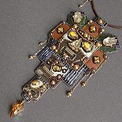 Украшения handmade. Livemaster - original item Choker MEMORY of the INCAS swarovski, beads, pearls, copper, leather. Handmade.