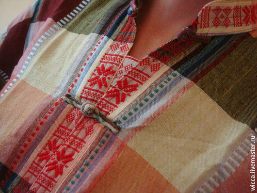 Для мужчин, ручной работы. Ярмарка Мастеров - ручная работа. Купить Мужская рубашка этническая одежда бохо хиппи boho в клетку. Handmade.