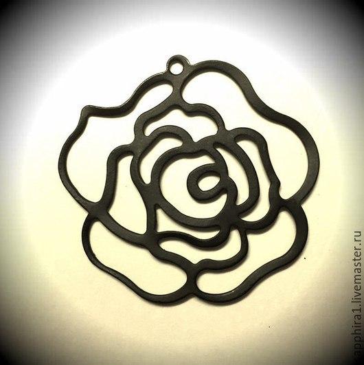 Для украшений ручной работы. Ярмарка Мастеров - ручная работа. Купить Подвеска черная роза. Handmade. Черный, черная фурнитура
