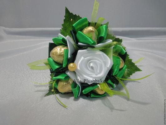 Букеты ручной работы. Ярмарка Мастеров - ручная работа. Купить Мини-букет с конфетами зеленый. Handmade. Зеленый, мини-букетики