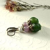 Украшения handmade. Livemaster - original item Earrings with amethyst, agate, turkmenistam