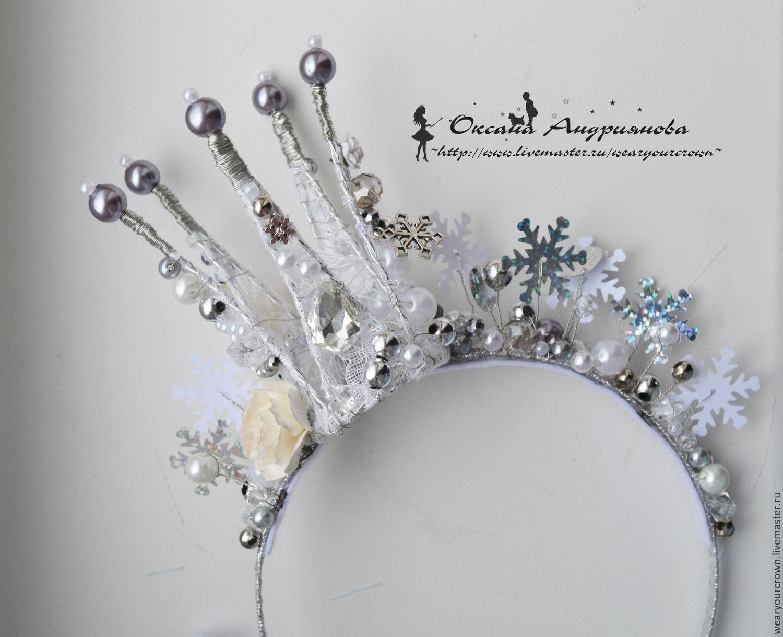Купить Новогодняя Корона в Серебре.Корона Снежной королевы.Снежинки,новый год - белый, серый, корона
