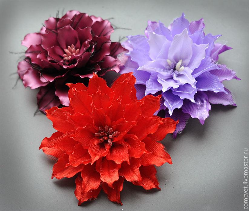 Цветок из атласной ленты