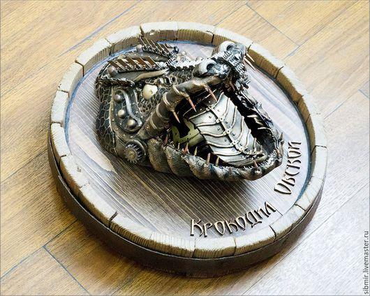 Животные ручной работы. Ярмарка Мастеров - ручная работа. Купить стимпанк панно крокодил Обской. Handmade. Панно, крокодил, охота