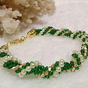 Bead bracelet handmade. Livemaster - original item Green Bindweed beaded bracelet. Handmade.