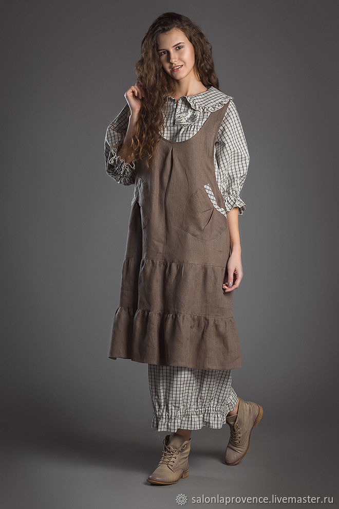 8d46a221e48 Платья ручной работы. Ярмарка Мастеров - ручная работа. Купить Комплект  платье хлопок с длинным ...