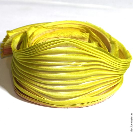 Для украшений ручной работы. Ярмарка Мастеров - ручная работа. Купить Шелковая лента Шибори желтая SH2 Shibori 10 см. Handmade.