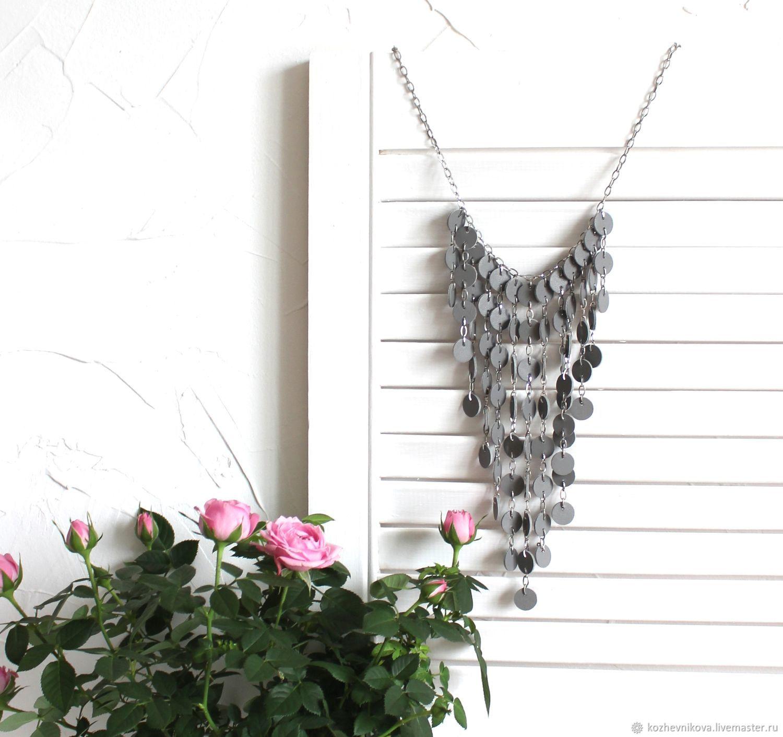 Leather choker boring grey, Necklace, Nizhnij Tagil,  Фото №1