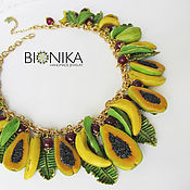 Украшения handmade. Livemaster - original item Fruit necklace with papaya and bananas made of polymer clay. Handmade.