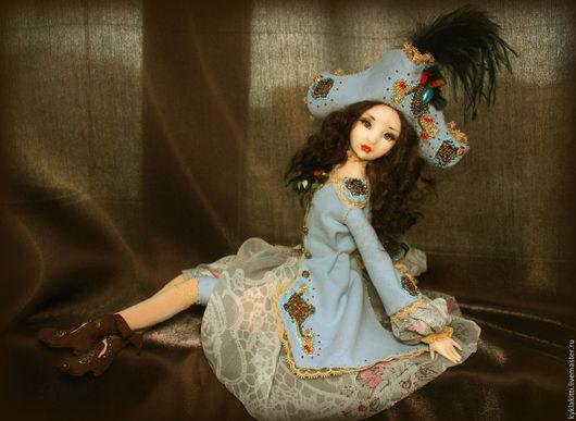 Коллекционные куклы ручной работы. Ярмарка Мастеров - ручная работа. Купить Миледи. Handmade. Голубой, кудри овцы, перья страуса