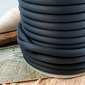 Материалы для творчества handmade. Livemaster - original item 1m Silicone hollow cord 5mm black (3725). Handmade.
