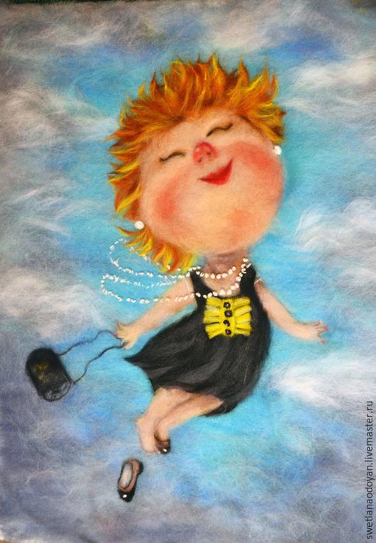 Люди, ручной работы. Ярмарка Мастеров - ручная работа. Купить Картина из шерсти Я летаю по мотивам работ Е.Гапчинской. Handmade.