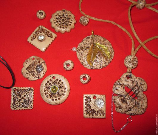 Кулоны, подвески ручной работы. Ярмарка Мастеров - ручная работа. Купить Осенняя коллекция. Handmade. Бежевый, полимерная глина