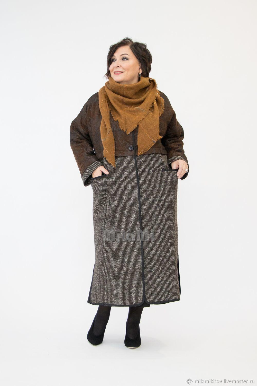 Пальто деми легкое,  комбинированное из 2-х тканей Арт.4169, Пальто, Киров,  Фото №1