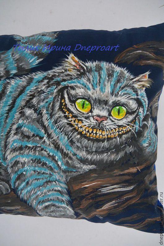 """Текстиль, ковры ручной работы. Ярмарка Мастеров - ручная работа. Купить Подушка """"Чеширский кот"""". Handmade. Синий, поплин"""