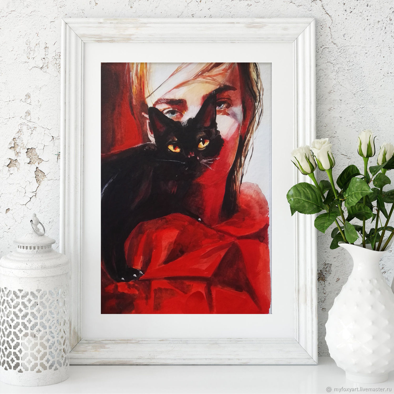 Girl in red and black cat, watercolor, Pictures, St. Petersburg,  Фото №1