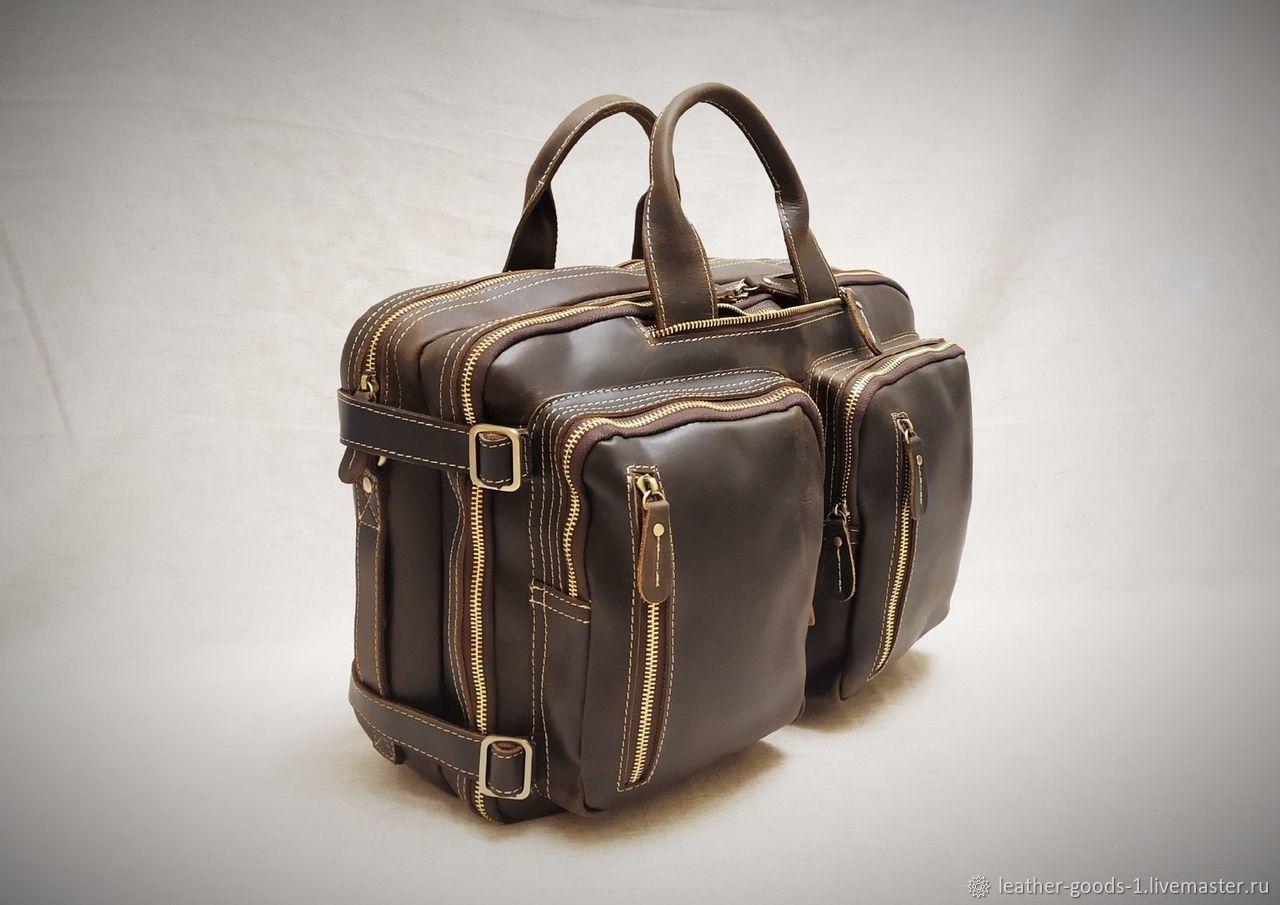 Кожаная сумка- рюкзак Банковская, Мужская сумка, Санкт-Петербург,  Фото №1