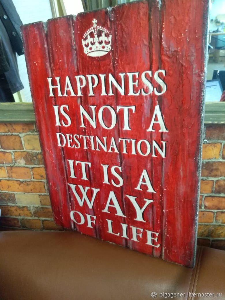 Панно деревянное 30х40_HAPPINESS_red W0058, Картины, Москва, Фото №1