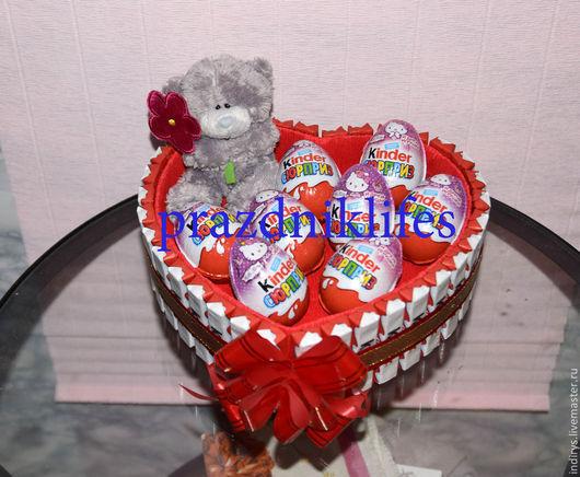 Персональные подарки ручной работы. Ярмарка Мастеров - ручная работа. Купить Киндер торт сердце и 100 причин внутри. Handmade.