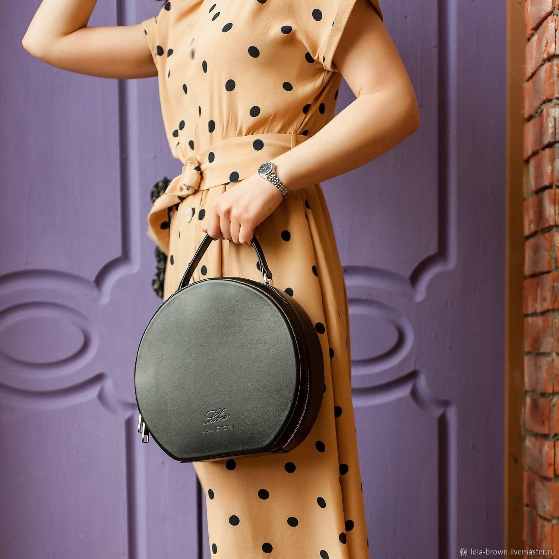 Round leather tote bag, black pearl color', Tote Bag, Zelenograd,  Фото №1