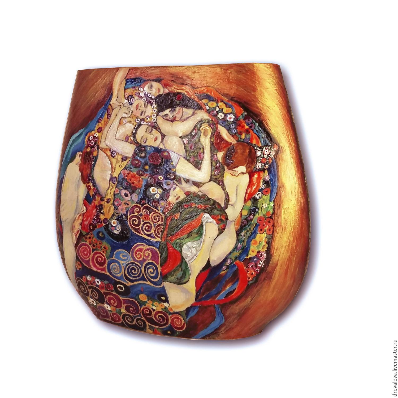 Роспись вазы по мотивам Климта. Изображение картины `Девственницы` Фронтальная сторона вазы1.