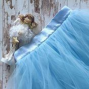 """Одежда ручной работы. Ярмарка Мастеров - ручная работа Юбка пачка """"Голубое облачко"""", тюль, атлас. Handmade."""