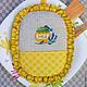 """Кухня ручной работы. Ярмарка Мастеров - ручная работа. Купить Прихватка с вышивкой и рюшей """"Баночка меда"""". Handmade. Желтый, летний"""