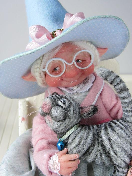 """Коллекционные куклы ручной работы. Ярмарка Мастеров - ручная работа. Купить """"Волшебница Маргарет"""". Handmade. Голубой, волшебница, серый кот"""