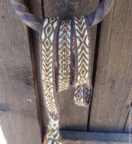 Ткачество ручной работы. Ярмарка Мастеров - ручная работа. Купить Зеленый охотничий пояс тканый на дощечках. Handmade. Тканый пояс