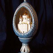Подарки к праздникам ручной работы. Ярмарка Мастеров - ручная работа Яйцо пасхальное с миниатюрой голубое. Handmade.