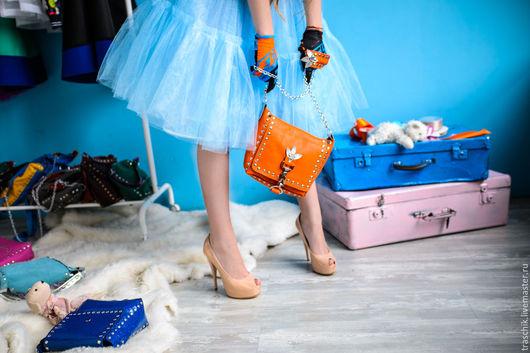 """Женские сумки ручной работы. Ярмарка Мастеров - ручная работа. Купить Сумка """"Морозный апельсин"""". Handmade. Рыжий, сумка кожаная"""