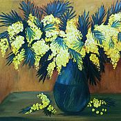 Картины и панно handmade. Livemaster - original item Picture of a Bouquet of Mimosa. Flowers in a vase oil Spring Mimosa. Handmade.