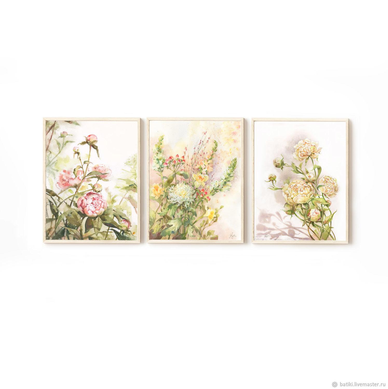 Картины. Свежие цветы, набор. Жикле акварель с цветами, Картины, Санкт-Петербург,  Фото №1