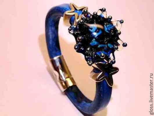 Браслеты ручной работы. Ярмарка Мастеров - ручная работа. Купить Кожаный браслет  Синяя Звезда. Handmade. Натуральная кожа, regaliz