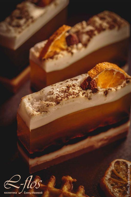Мыло ручной работы `Мандариновый чизкейк` с ароматом мандарина, шоколада и ванили - 300 руб !!!Не содержит лаурилсульфат натрия!!!