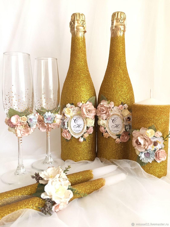 Свадебный набор «Золото», Бутылки свадебные, Ставрополь,  Фото №1