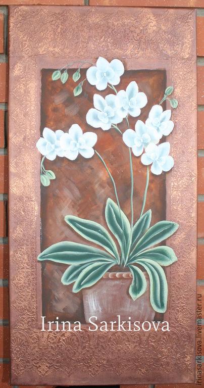 Картины цветов ручной работы. Ярмарка Мастеров - ручная работа. Купить Орхидеи на холсте. Handmade. Коричневый, орхидеи, картина для интерьера