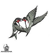 Материалы для творчества ручной работы. Ярмарка Мастеров - ручная работа Птички ласточки вышивка на одежде птица вышивка на джинсах аппликация. Handmade.